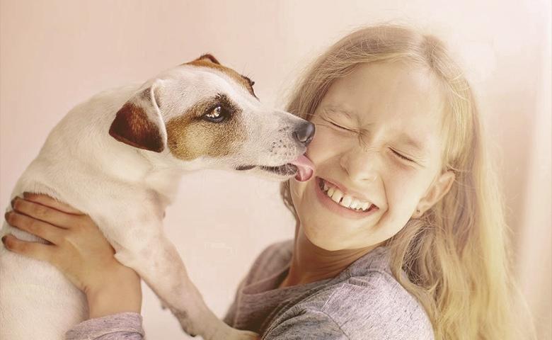 dog licking girl face
